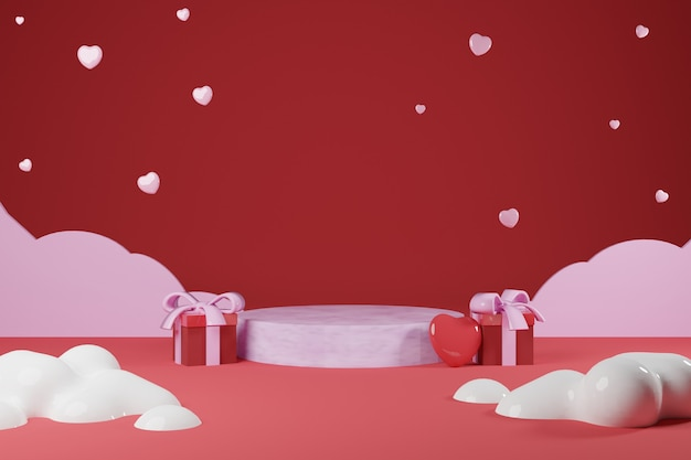 Podiun rosa vazio com caixa de presente e balão em forma de amor para apresentação do produto - renderização em 3d
