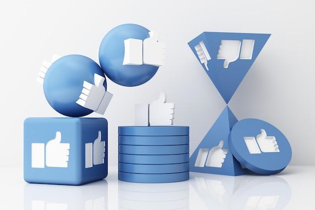 Polegar para cima símbolo dedo no ícone como ícone em formas geométricas azuis renderização em 3d