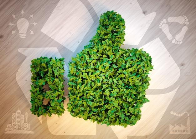 Polegares para cima com ícones ecológicos. renderização 3d.