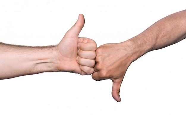 Polegares para cima e polegares para baixo sinais de mão