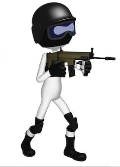 Policial da swat com espingarda de assalto