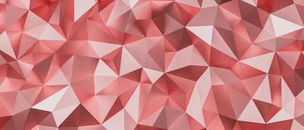 Polígono baixo do triângulo rosa. poligonal triangular geométrica em ouro rosa. fundo abstrato do mosaico. ilustração de renderização 3d.