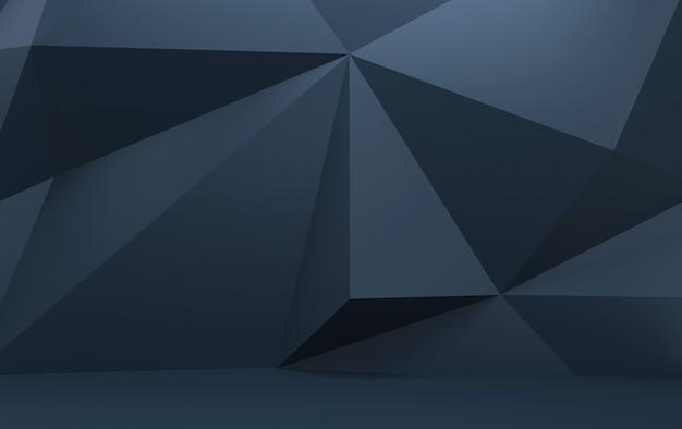 Polígonos triangulares azuis escuros, renderização 3d