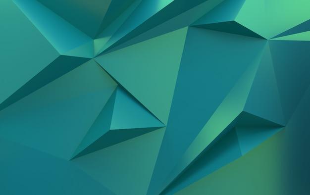 Polígonos triangulares gradientes verdes, renderização 3d
