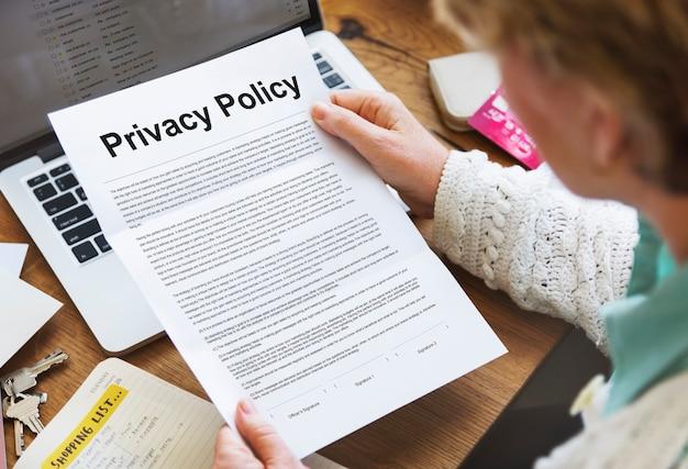 Política de privacidade, documentos de serviço, termos de uso, conceito