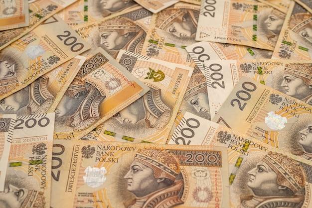 Polônia 200 contas zlotych como pano de fundo. zygmunt i