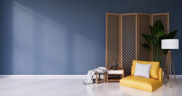 Poltrona amarela e divisória japonesa com design de madeira no piso azul branco