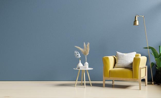 Poltrona amarela e uma mesa de madeira no interior da sala de estar com planta, parede azul escuro. renderização 3d