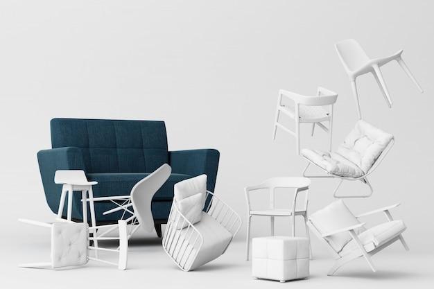 Poltrona azul em torno de cadeiras brancas em fundo branco vazio conceito de minimalismo e instalação arte renderização em 3d