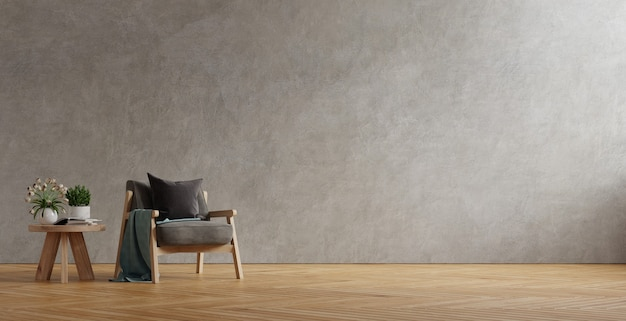 Poltrona cinza escuro e mesa de madeira no interior da sala de estar com planta
