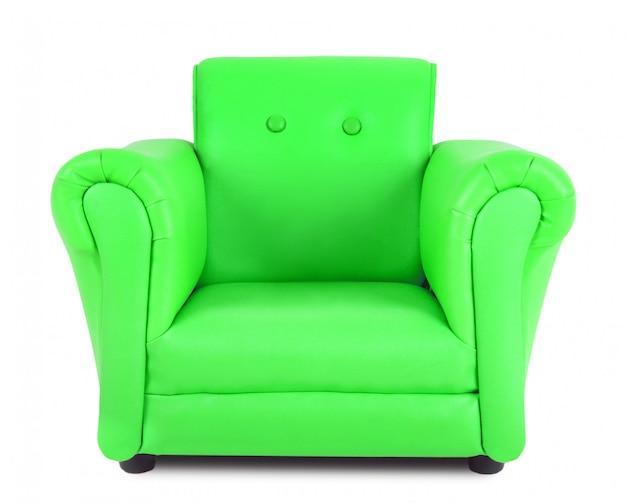 Poltrona clássica de couro verde