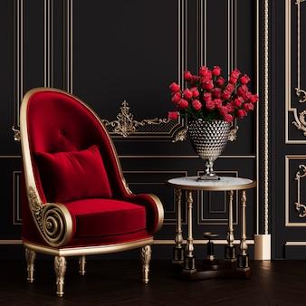 Poltrona clássica na ilustração 3d clássica de interior interior maquete