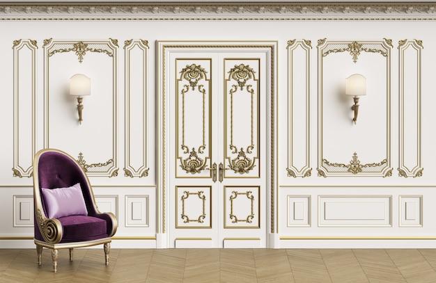 Poltrona clássica no interior clássico com espaço de cópia