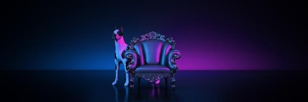 Poltrona com guarda gran danes cão renderização em 3d