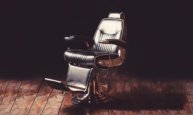 Poltrona de barbearia, cabeleireiro moderno e salão de cabeleireiro.