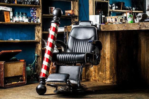 Poltrona de barbearia. salão para homens.