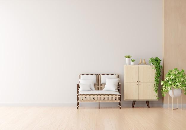 Poltrona de madeira e armário na sala de estar branca com espaço de cópia