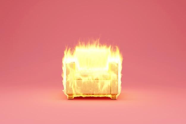 Poltrona de tecido em fogo chama na cor rosa