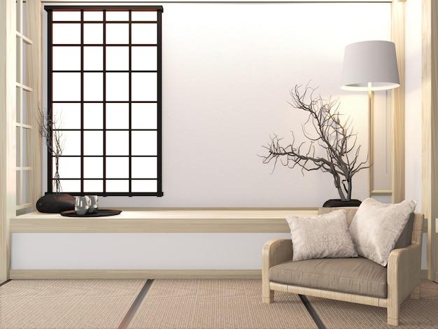 Poltrona do sofá no zen da sala com assoalho do tatami e estilo japonês da decoração. renderização em 3d