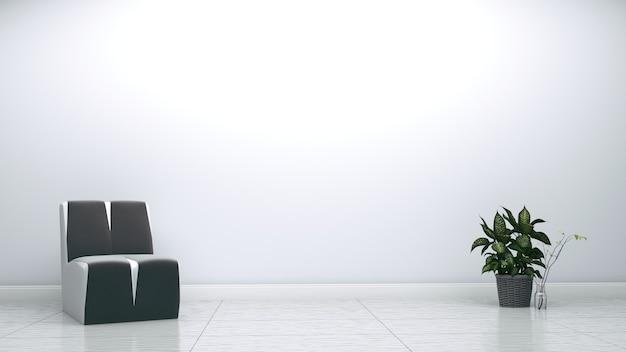 Poltrona e planta cinzentas no fundo vazio da parede branca. renderização 3d.