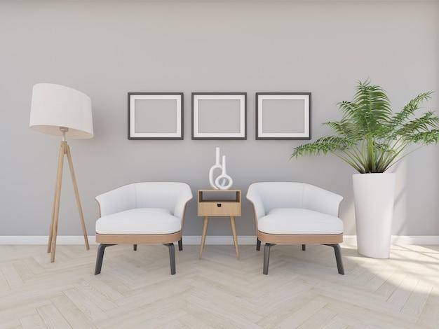 Poltrona em sala cinza com moldura e luminária de chão