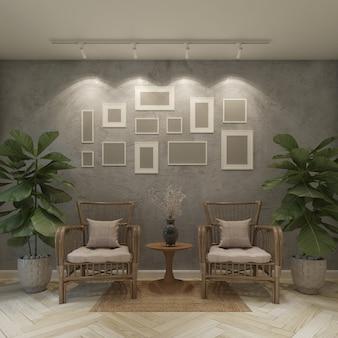 Poltrona em sala cinza com moldura, renderização em 3d