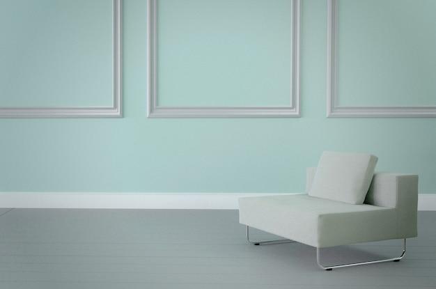 Poltrona interior, branca minimalista na luz - parede azul. renderização em 3d