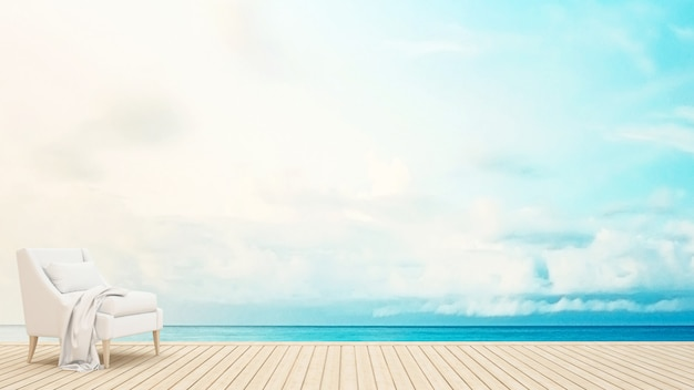 Poltrona, ligado, terraço, vista mar, -, 3d, fazendo