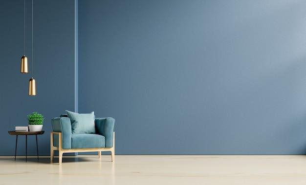 Poltrona na parede azul escura vazia.