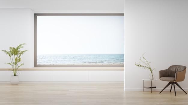 Poltrona no piso de madeira da grande sala de estar em casa moderna ou hotel de luxo.