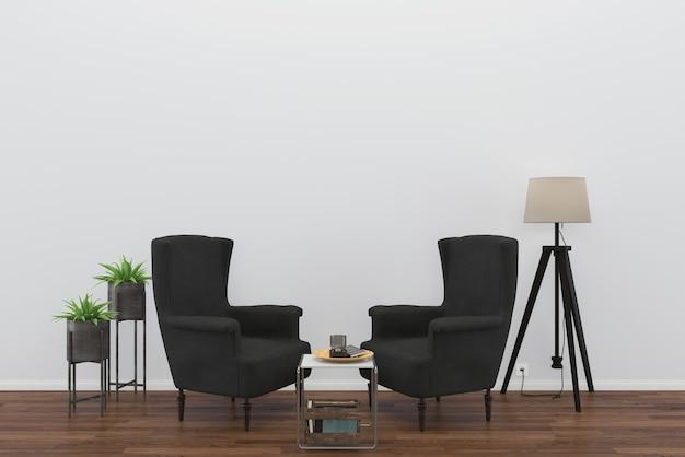 Poltrona preta madeira piso parede sala modelo lâmpada fundo interior