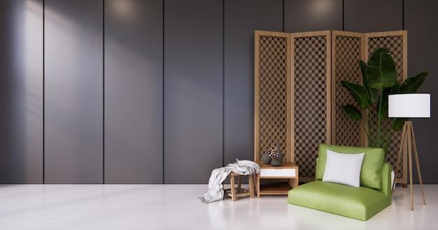 Poltrona verde e divisória japonesa com design de madeira no piso preto e branco do quarto