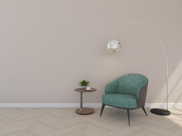 Poltrona verde em quarto marrom com luminária de chão, rendeing 3d