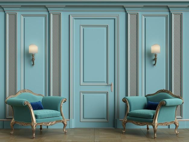 Poltronas clássicas no interior clássico, com espaço de cópia