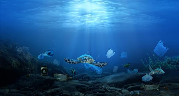 Poluição de plástico em sacos plásticos nas profundezas do oceano