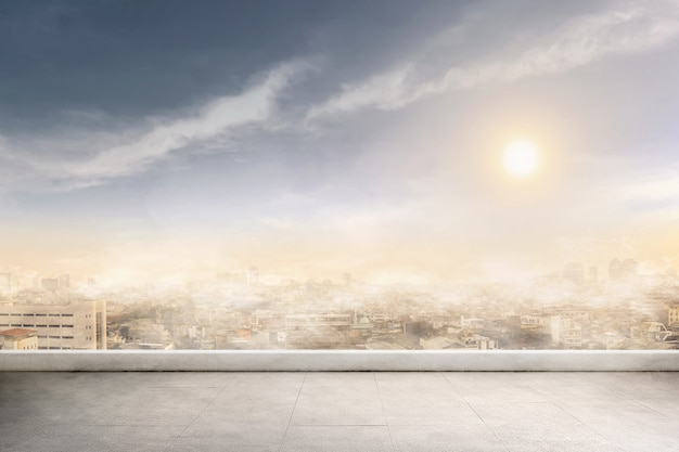 Poluição por fumaça e ar em um dia