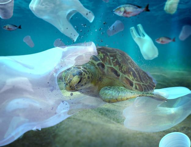 Poluição por plástico no problema ambiental do oceano as tartarugas podem comer plástico pensando que são águas-vivas