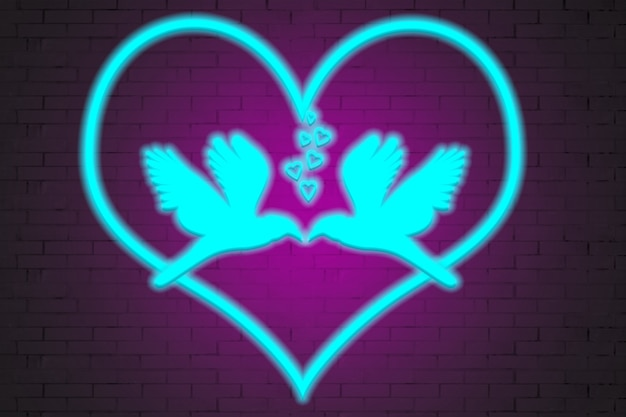 Pombos de néon se beijando, com corações no fundo de uma parede de tijolos.