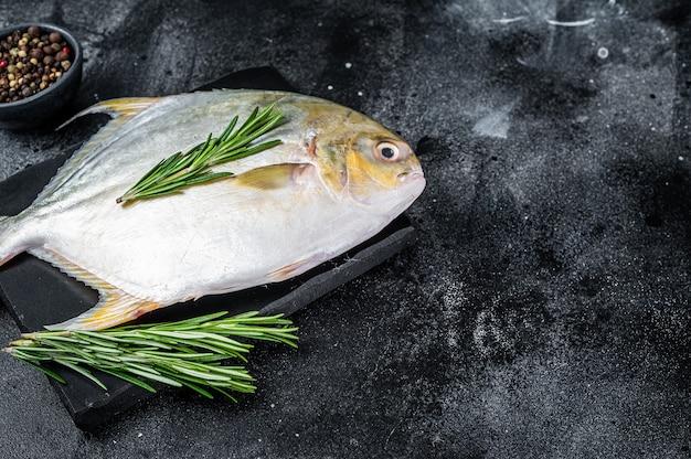 Pompano de peixe cru com ervas em uma placa de mármore. fundo preto. vista do topo. copie o espaço.