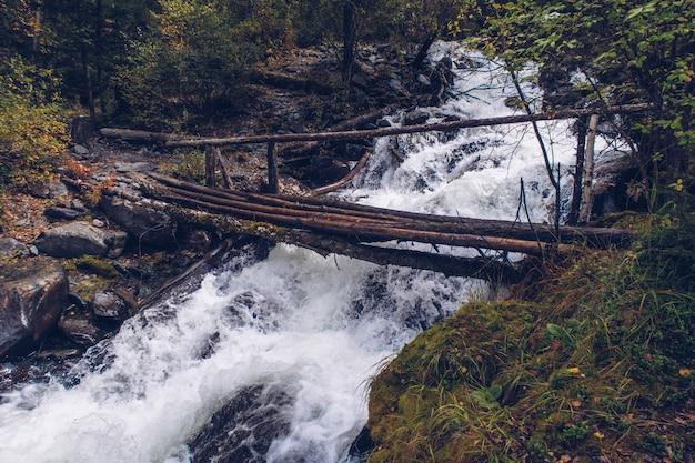Ponte de madeira estreita sobre o riacho da floresta. bela paisagem de temporada de outono com foto de estoque de rio e floresta. montanhas altai, rússia