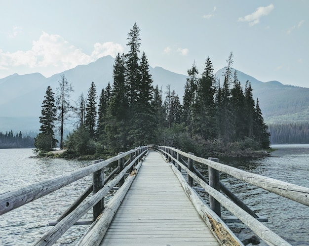 Ponte de madeira sobre a água em direção à floresta com montanhas