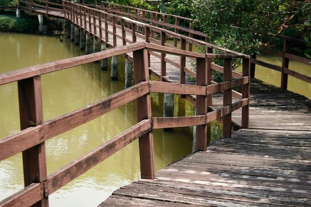 Ponte de madeira sobre a lagoa no parque
