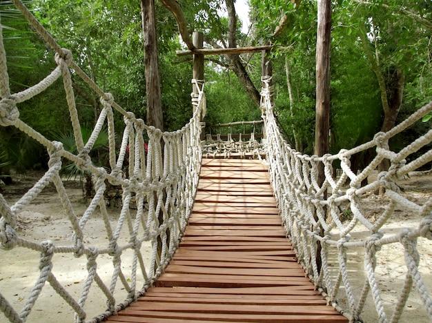 Ponte de suspensão de selva de corda de madeira de aventura