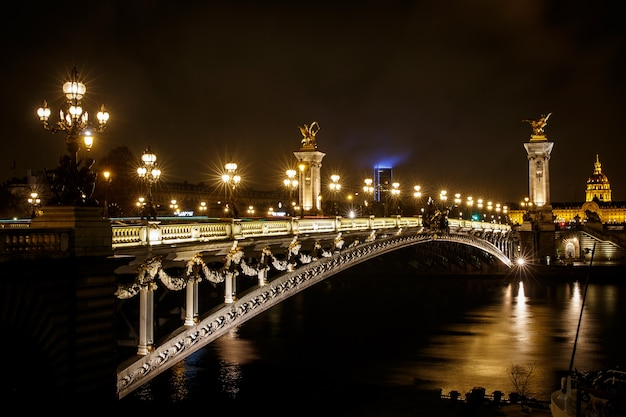 Ponte do alexandre iii em um dia chuvoso de outono em paris, frança.