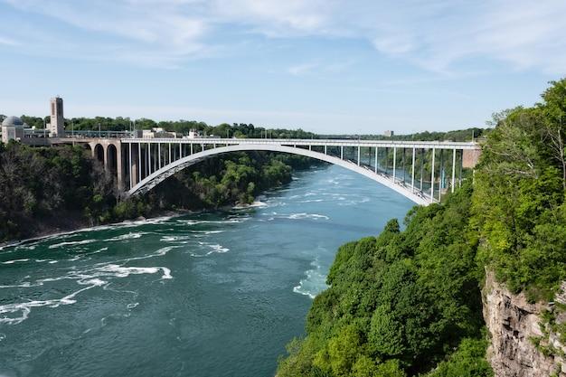 Ponte do arco-íris sobre o rio com céu azul, cataratas do niágara, eua e fronteira do canadá
