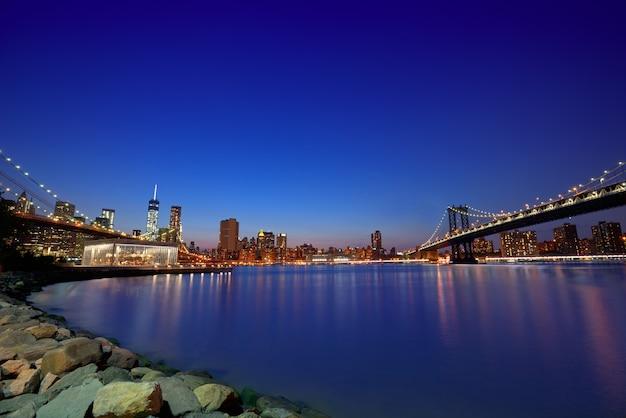 Ponte do brooklyn e manhattan pontes sunset ny