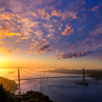 Ponte dourada portão, são francisco, amanhecer, califórnia