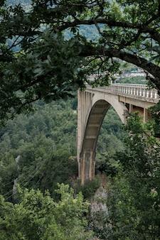 Ponte em arco nas montanhas, vista lateral por entre as árvores