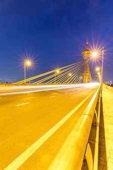 Ponte, em, nonthaburi, tailandia, pôr do sol