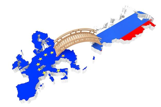 Ponte entre a europa e a rússia em um fundo branco